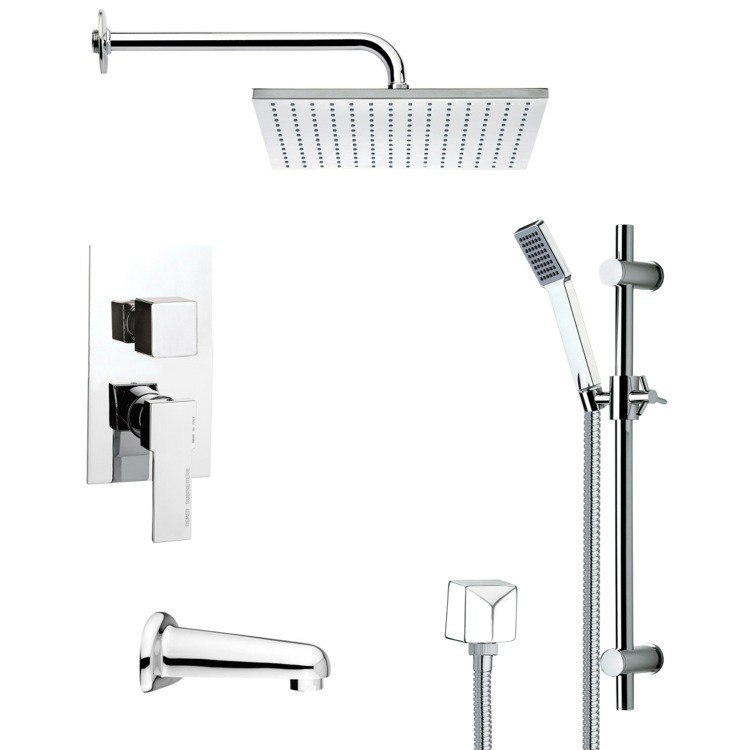 REMER TSR9100 GALIANO CONTEMPORARY CHROME TUB AND SHOWER FAUCET SET