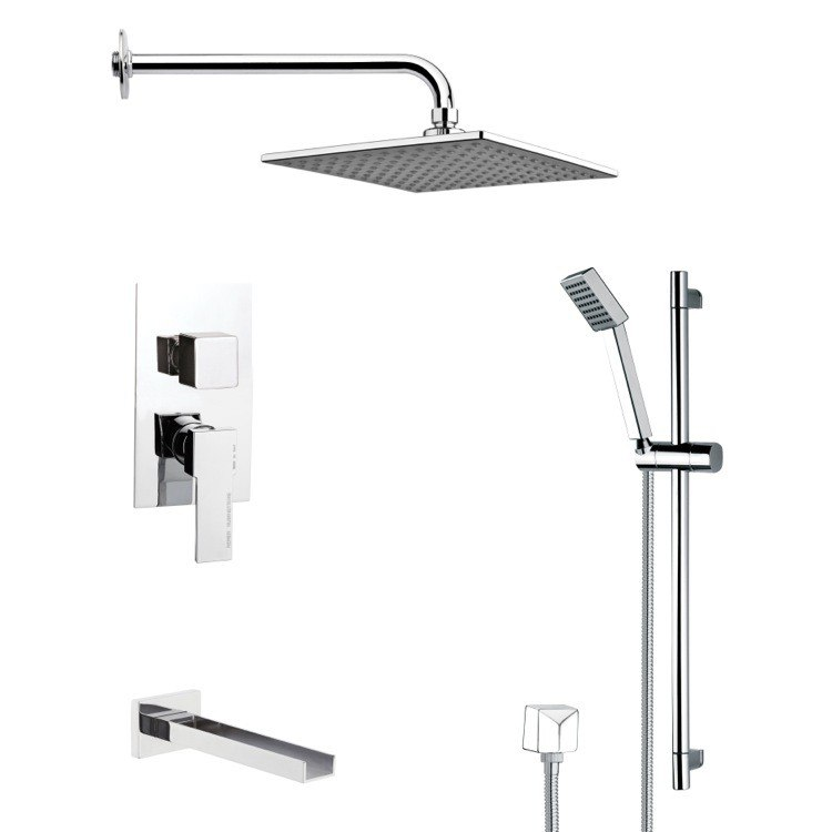 REMER TSR9109 GALIANO POLISHED CHROME TUB AND RAIN SHOWER FAUCET SET