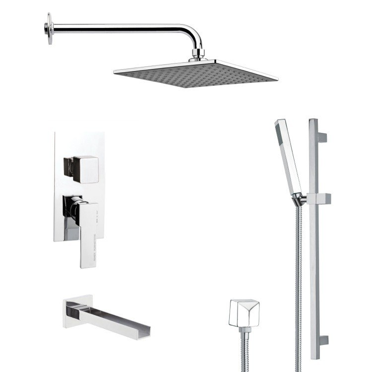 REMER TSR9110 GALIANO POLISHED CHROME TUB AND RAIN SHOWER FAUCET SET