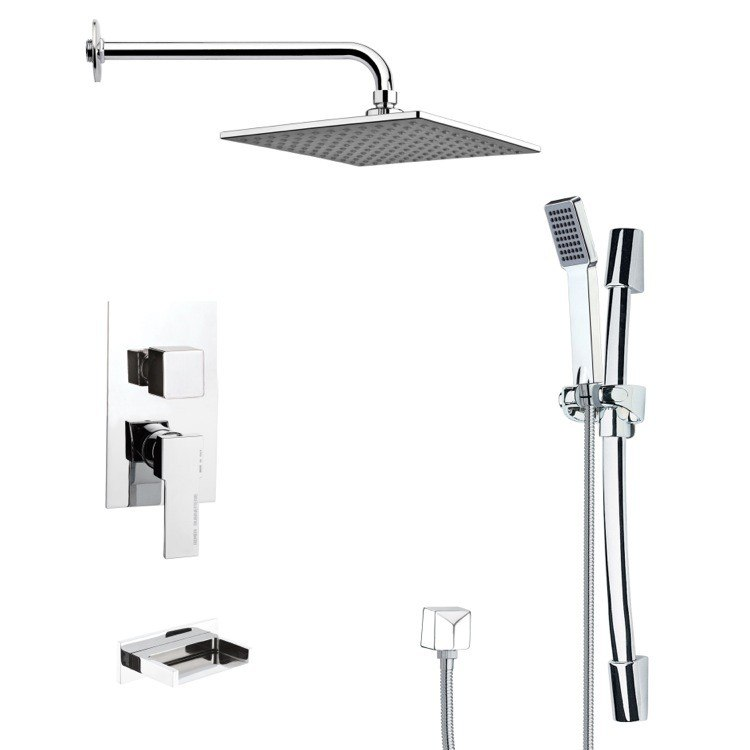 REMER TSR9111 GALIANO POLISHED CHROME TUB AND RAIN SHOWER FAUCET SET