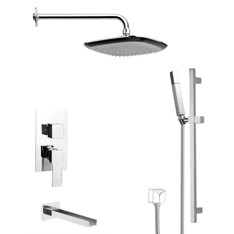 REMER TSR9114 GALIANO POLISHED CHROME TUB AND RAIN SHOWER FAUCET WITH SLIDE RAIL