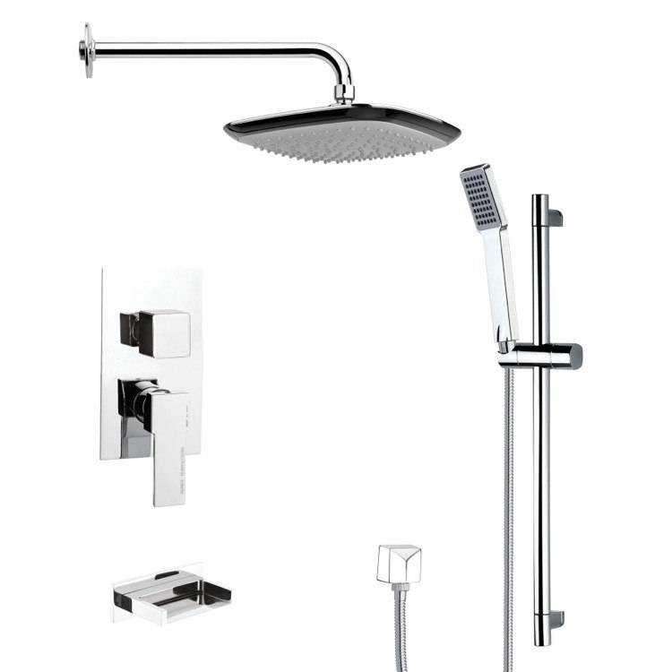 REMER TSR9116 GALIANO POLISHED CHROME TUB AND RAIN SHOWER FAUCET WITH SLIDE RAIL