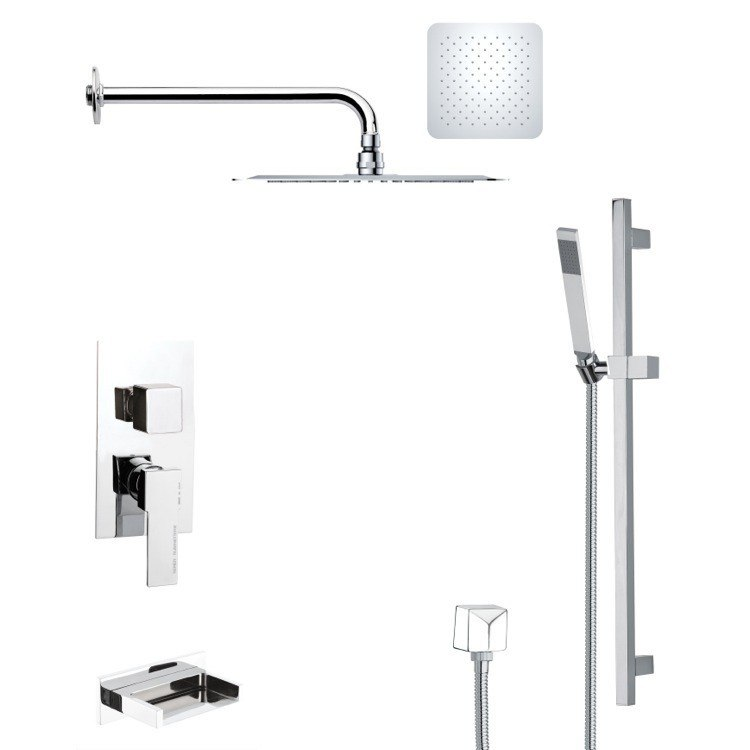 REMER TSR9117 GALIANO POLISHED CHROME TUB AND RAIN SHOWER FAUCET WITH SLIDE RAIL