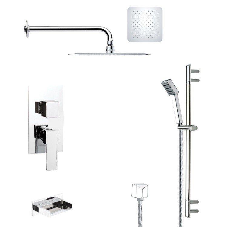 REMER TSR9118 GALIANO POLISHED CHROME TUB AND RAIN SHOWER FAUCET WITH SLIDE RAIL