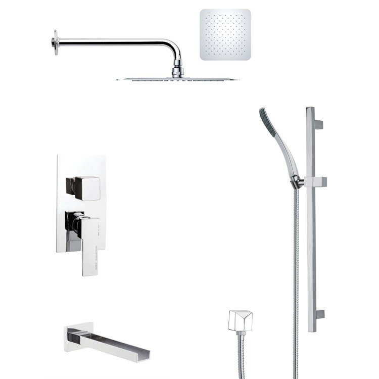 REMER TSR9120 GALIANO POLISHED CHROME TUB AND RAIN SHOWER FAUCET WITH HAND SHOWER