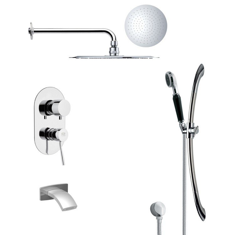 REMER TSR9121 GALIANO POLISHED CHROME TUB AND RAIN SHOWER FAUCET WITH HAND SHOWER