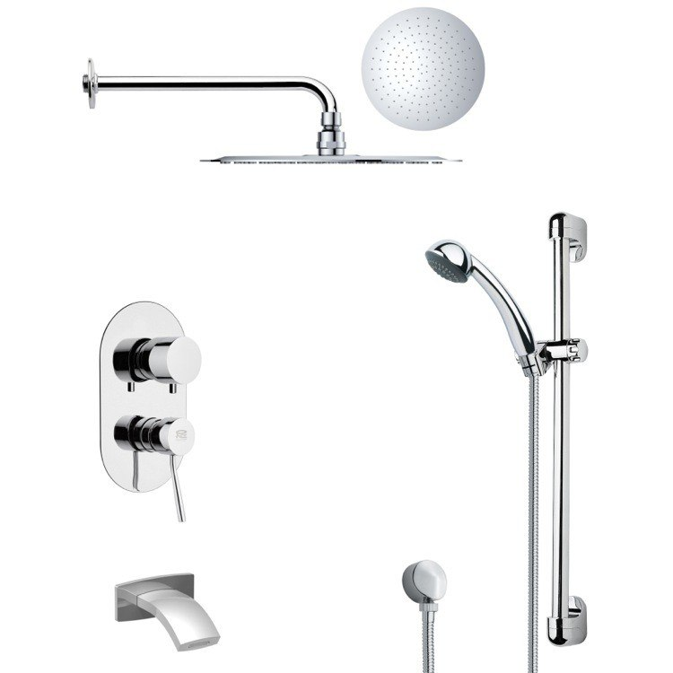 REMER TSR9122 GALIANO POLISHED CHROME TUB AND RAIN SHOWER FAUCET WITH HAND SHOWER