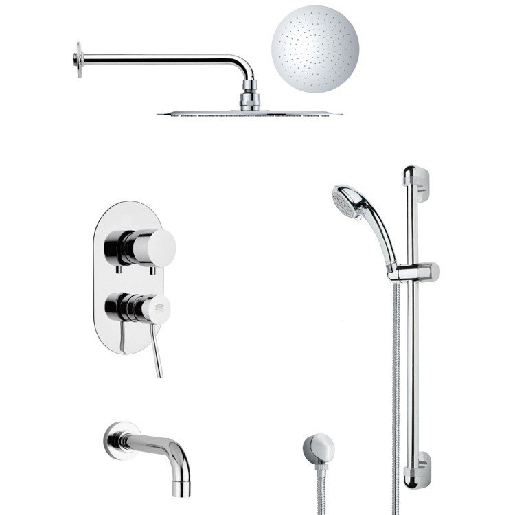 REMER TSR9123 GALIANO POLISHED CHROME TUB AND RAIN SHOWER FAUCET WITH HAND SHOWER
