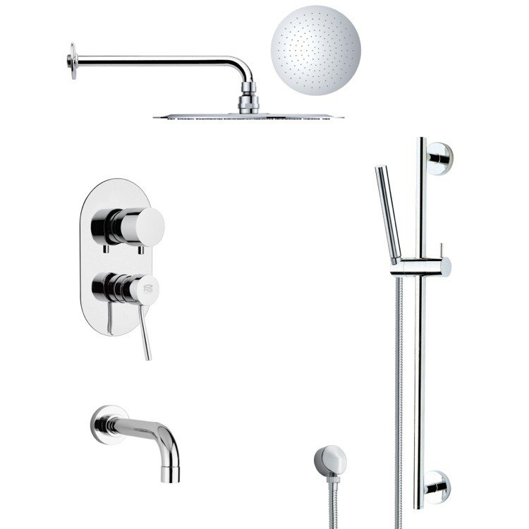 REMER TSR9124 GALIANO POLISHED CHROME TUB AND RAIN SHOWER FAUCET WITH HAND SHOWER