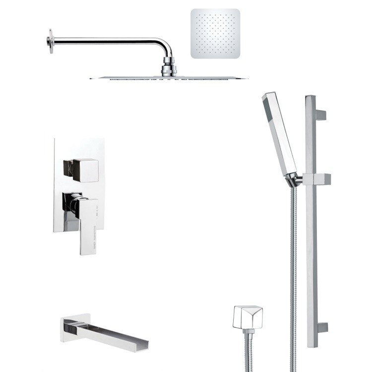 REMER TSR9125 GALIANO POLISHED CHROME TUB AND RAIN SHOWER FAUCET WITH HAND SHOWER