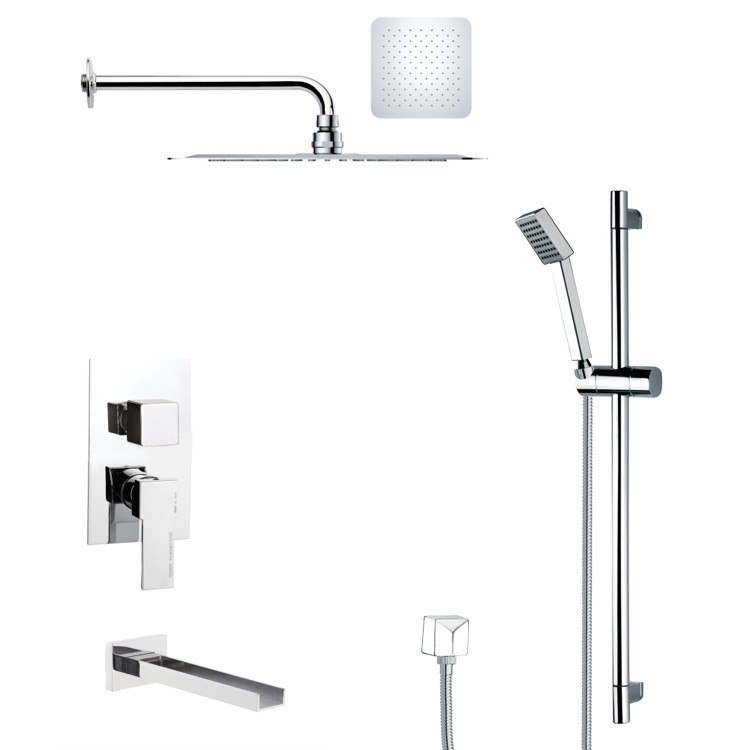 REMER TSR9126 GALIANO POLISHED CHROME TUB AND RAIN SHOWER FAUCET WITH HAND SHOWER