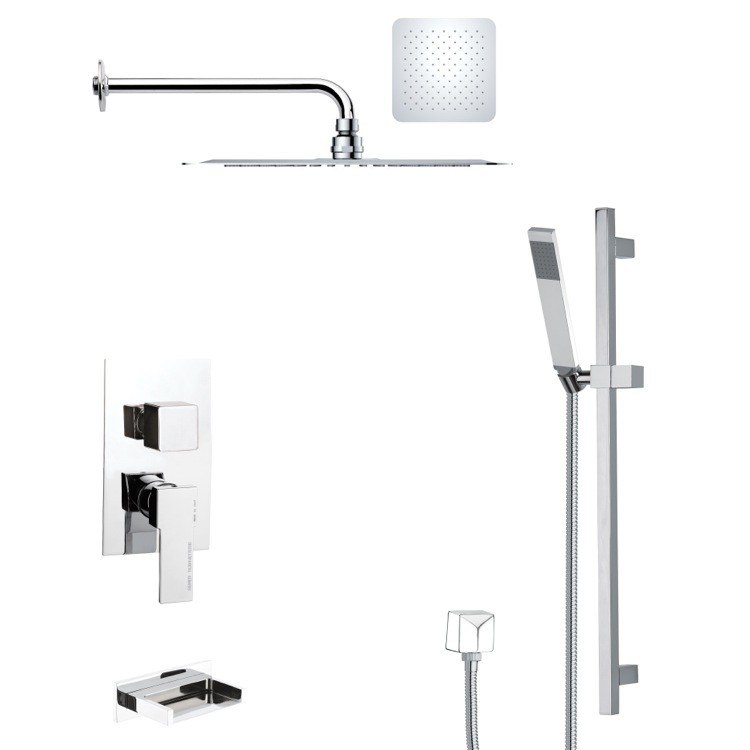 REMER TSR9127 GALIANO POLISHED CHROME TUB AND RAIN SHOWER FAUCET WITH HAND SHOWER