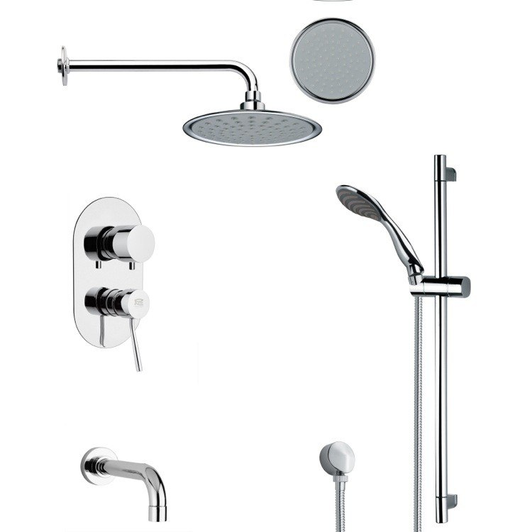 REMER TSR9137 GALIANO ROUND CHROME TUB AND RAIN SHOWER FAUCET SET