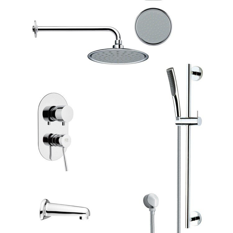 REMER TSR9139 GALIANO ROUND CHROME TUB AND RAIN SHOWER FAUCET SET