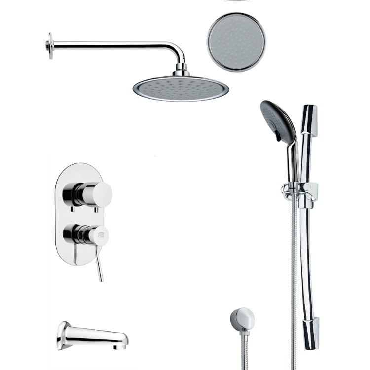 REMER TSR9140 GALIANO ROUND CHROME TUB AND RAIN SHOWER FAUCET SET