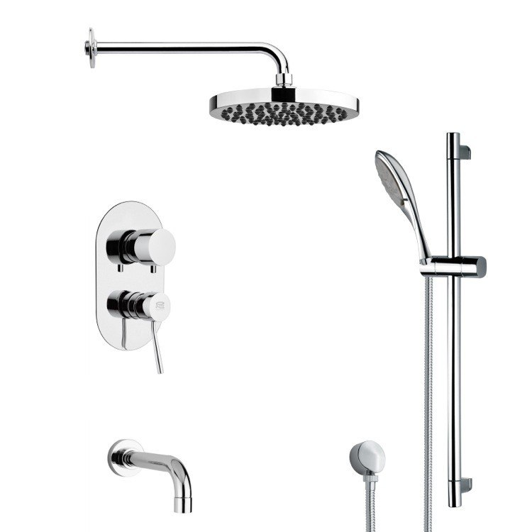 REMER TSR9143 GALIANO ROUND CHROME TUB AND RAIN SHOWER FAUCET SET