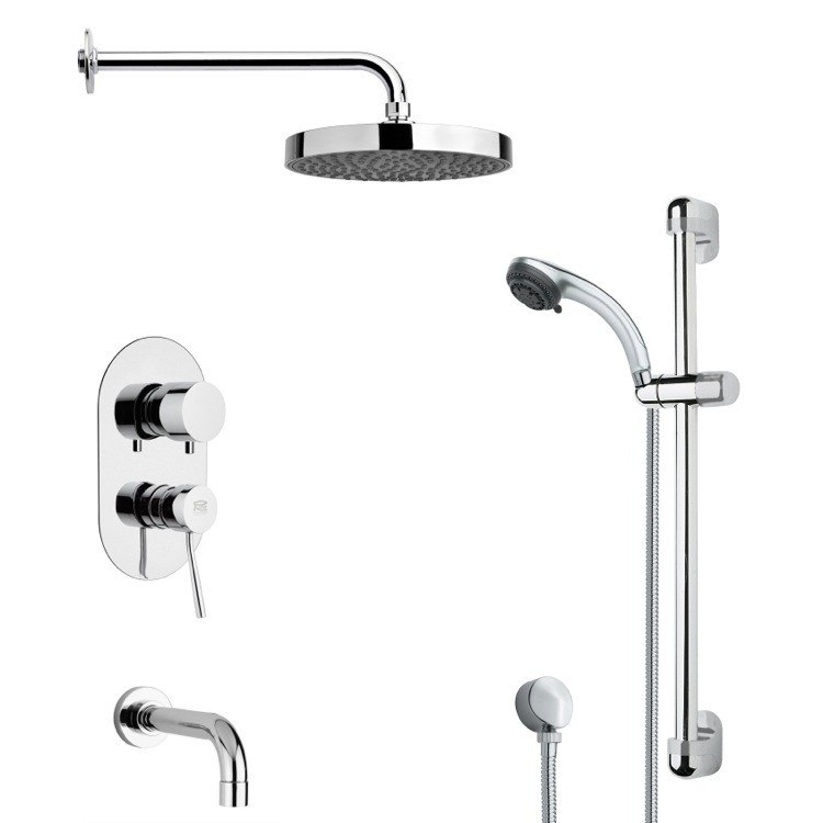 REMER TSR9145 GALIANO ROUND CHROME TUB AND RAIN SHOWER FAUCET SET