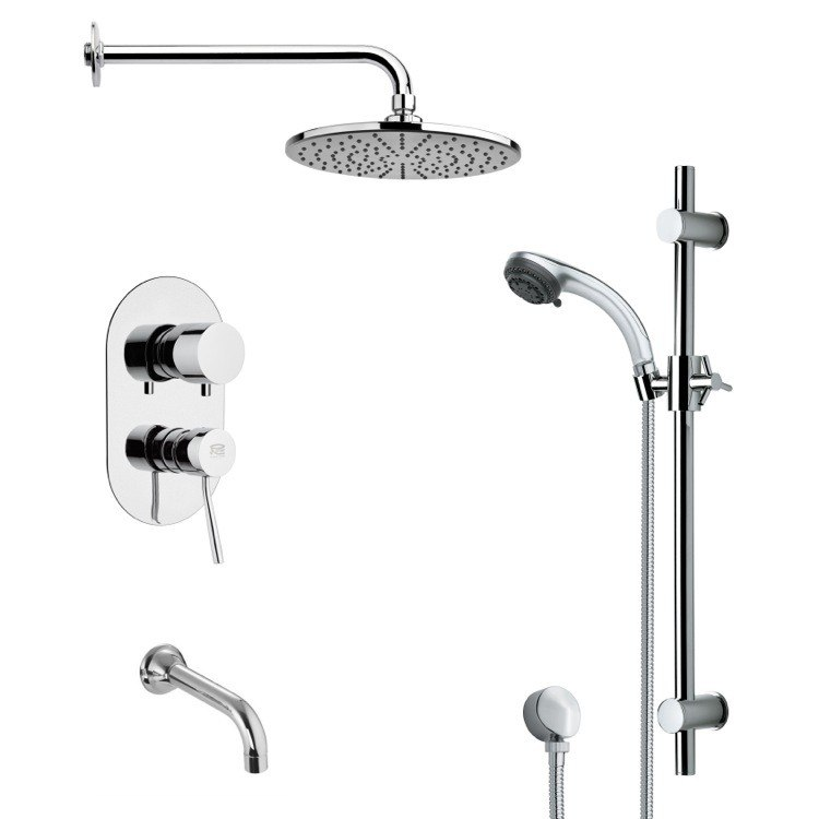 REMER TSR9156 GALIANO ROUND CHROME TUB AND RAIN SHOWER FAUCET WITH HANDHELD SHOWER