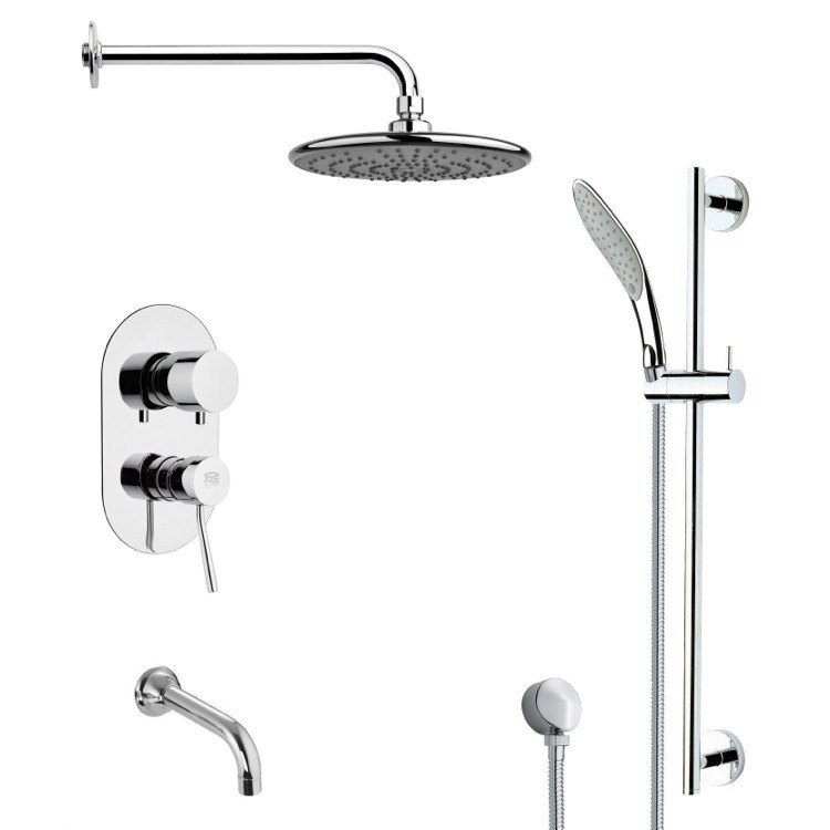 REMER TSR9157 GALIANO ROUND CHROME TUB AND RAIN SHOWER FAUCET WITH HANDHELD SHOWER
