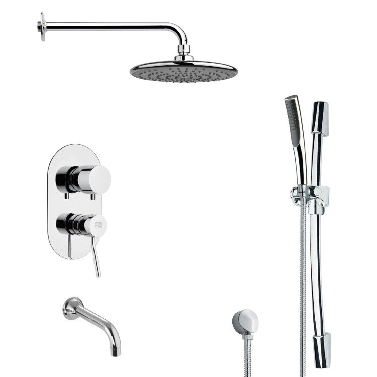 REMER TSR9158 GALIANO ROUND CHROME TUB AND RAIN SHOWER FAUCET WITH HANDHELD SHOWER