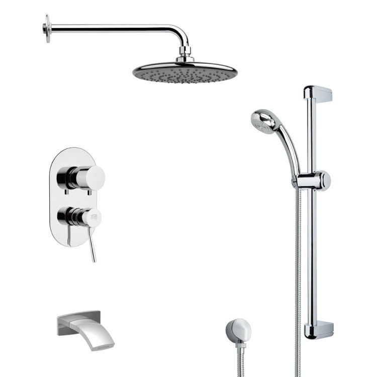 REMER TSR9159 GALIANO ROUND CHROME TUB AND RAIN SHOWER FAUCET WITH HANDHELD SHOWER