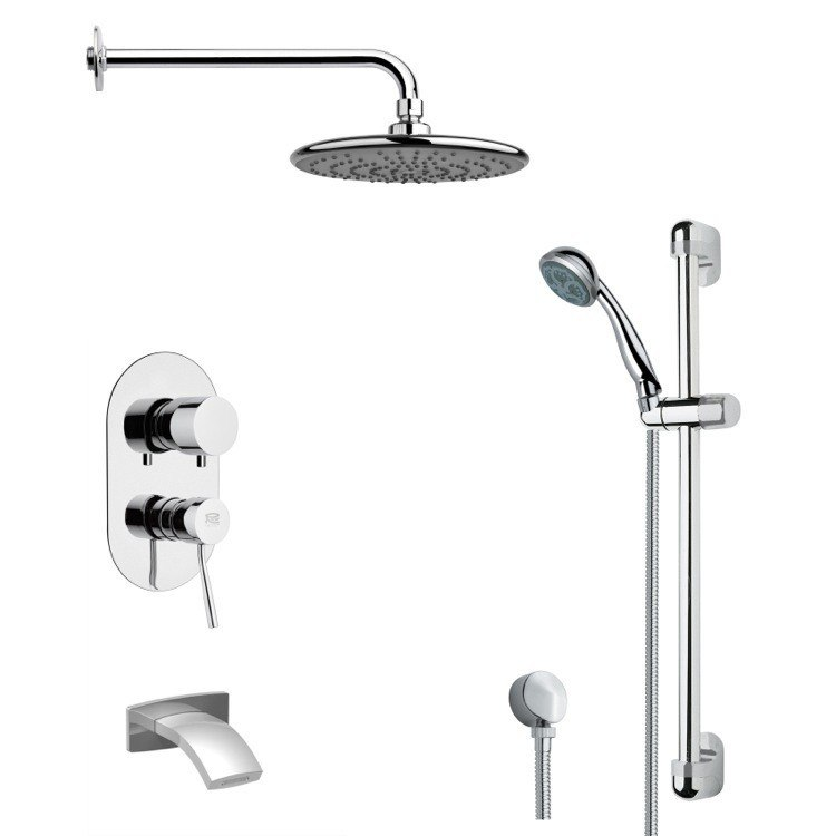 REMER TSR9160 GALIANO ROUND CHROME TUB AND RAIN SHOWER FAUCET WITH HANDHELD SHOWER