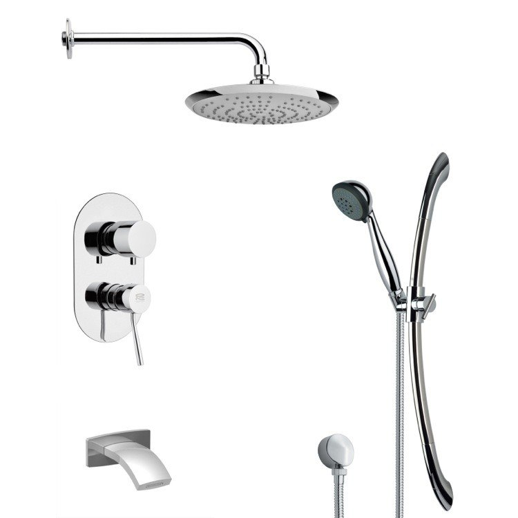 REMER TSR9161 GALIANO ROUND CHROME TUB AND RAIN SHOWER FAUCET WITH HANDHELD SHOWER