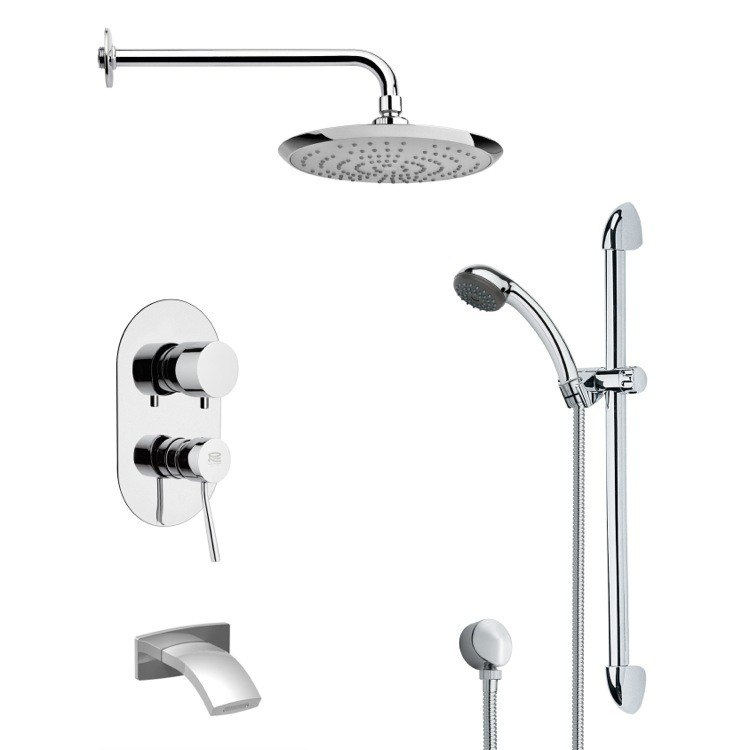 REMER TSR9162 GALIANO ROUND CHROME TUB AND RAIN SHOWER FAUCET WITH HANDHELD SHOWER