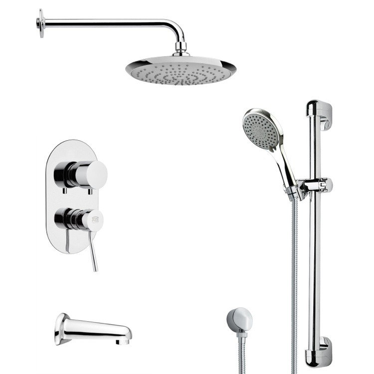 REMER TSR9163 GALIANO ROUND CHROME TUB AND RAIN SHOWER FAUCET WITH SLIDE RAIL