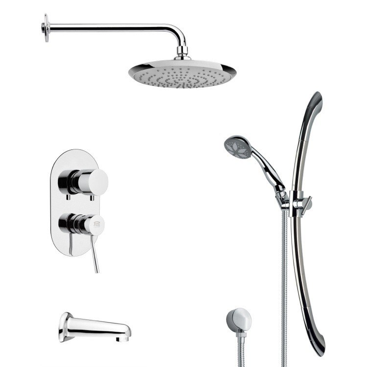 REMER TSR9164 GALIANO ROUND CHROME TUB AND RAIN SHOWER FAUCET WITH SLIDE RAIL