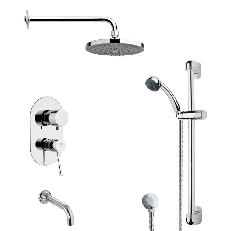 REMER TSR9165 GALIANO ROUND CHROME TUB AND RAIN SHOWER FAUCET WITH SLIDE RAIL
