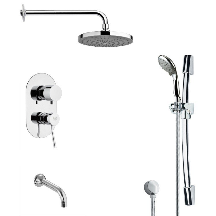 REMER TSR9166 GALIANO ROUND CHROME TUB AND RAIN SHOWER FAUCET WITH SLIDE RAIL