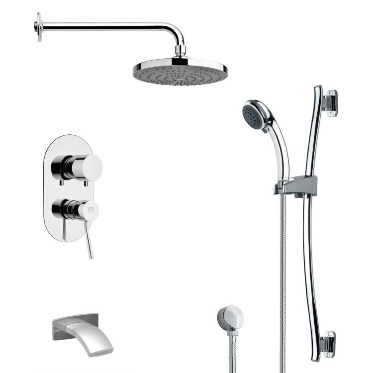 REMER TSR9167 GALIANO ROUND CHROME TUB AND RAIN SHOWER FAUCET WITH SLIDE RAIL