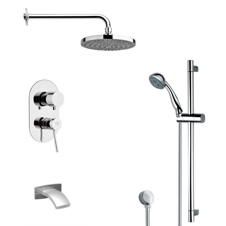 REMER TSR9168 GALIANO ROUND CHROME TUB AND RAIN SHOWER FAUCET WITH SLIDE RAIL