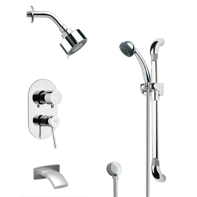 REMER TSR9172 GALIANO CONTEMPORARY ROUND TUB AND RAIN SHOWER FAUCET WITH SLIDE RAIL IN CHROME
