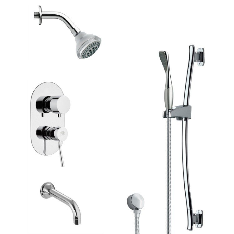REMER TSR9173 GALIANO CONTEMPORARY ROUND TUB AND RAIN SHOWER FAUCET WITH SLIDE RAIL IN CHROME