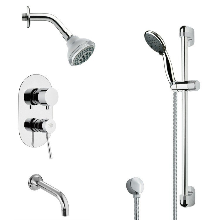 REMER TSR9174 GALIANO CONTEMPORARY ROUND TUB AND RAIN SHOWER FAUCET WITH SLIDE RAIL IN CHROME