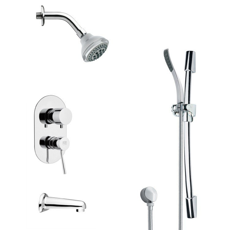 REMER TSR9176 GALIANO CONTEMPORARY ROUND TUB AND RAIN SHOWER FAUCET WITH SLIDE RAIL IN CHROME
