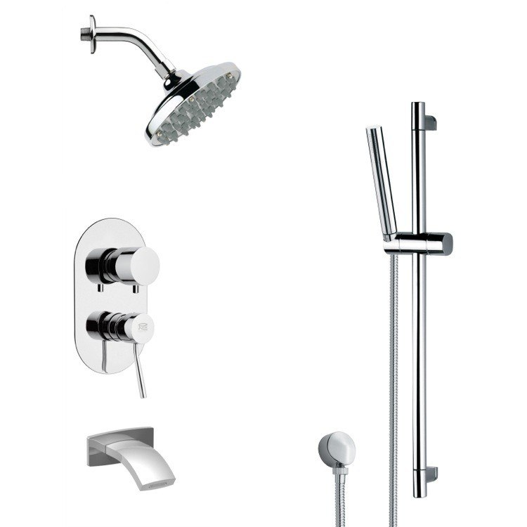 REMER TSR9180 GALIANO CONTEMPORARY ROUND RAIN SHOWER SYSTEM IN CHROME