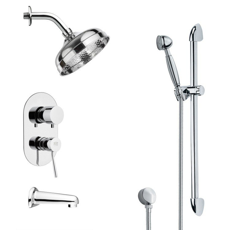 REMER TSR9185 GALIANO CONTEMPORARY ROUND TUB AND RAIN SHOWER FAUCET WITH HAND SHOWER IN CHROME