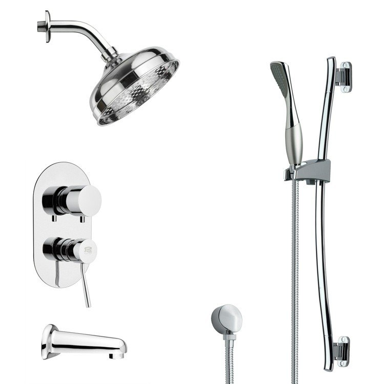 REMER TSR9186 GALIANO CONTEMPORARY ROUND TUB AND RAIN SHOWER FAUCET WITH HAND SHOWER IN CHROME