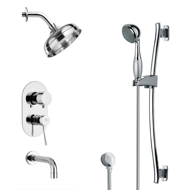 REMER TSR9188 GALIANO CONTEMPORARY ROUND TUB AND RAIN SHOWER FAUCET WITH HAND SHOWER IN CHROME