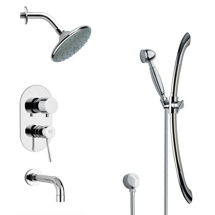 REMER TSR9189 GALIANO CONTEMPORARY ROUND TUB AND RAIN SHOWER FAUCET WITH HAND SHOWER IN CHROME