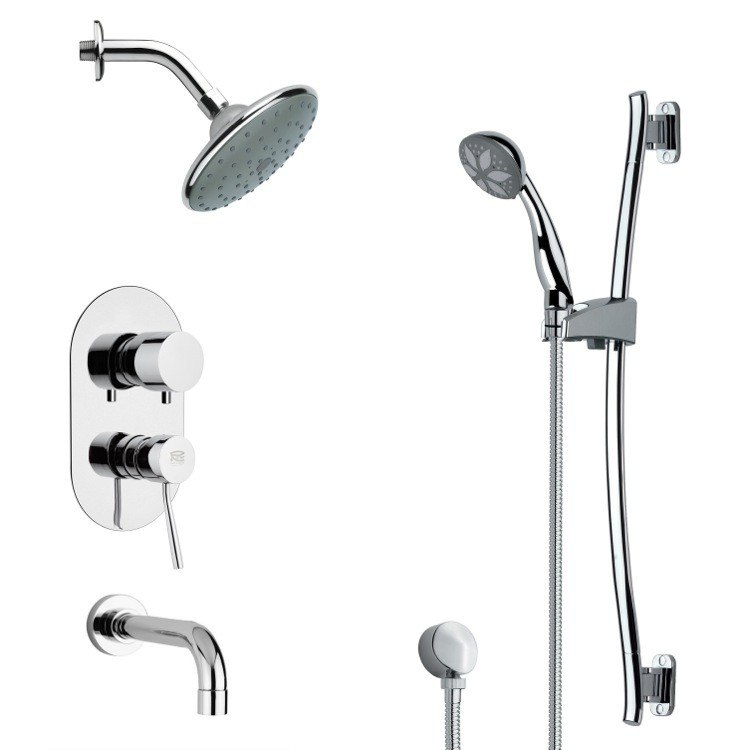 REMER TSR9190 GALIANO CONTEMPORARY ROUND TUB AND RAIN SHOWER FAUCET WITH HAND SHOWER IN CHROME