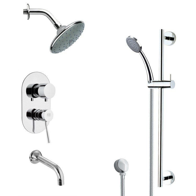 REMER TSR9191 GALIANO CONTEMPORARY ROUND TUB AND RAIN SHOWER FAUCET WITH HAND SHOWER IN CHROME