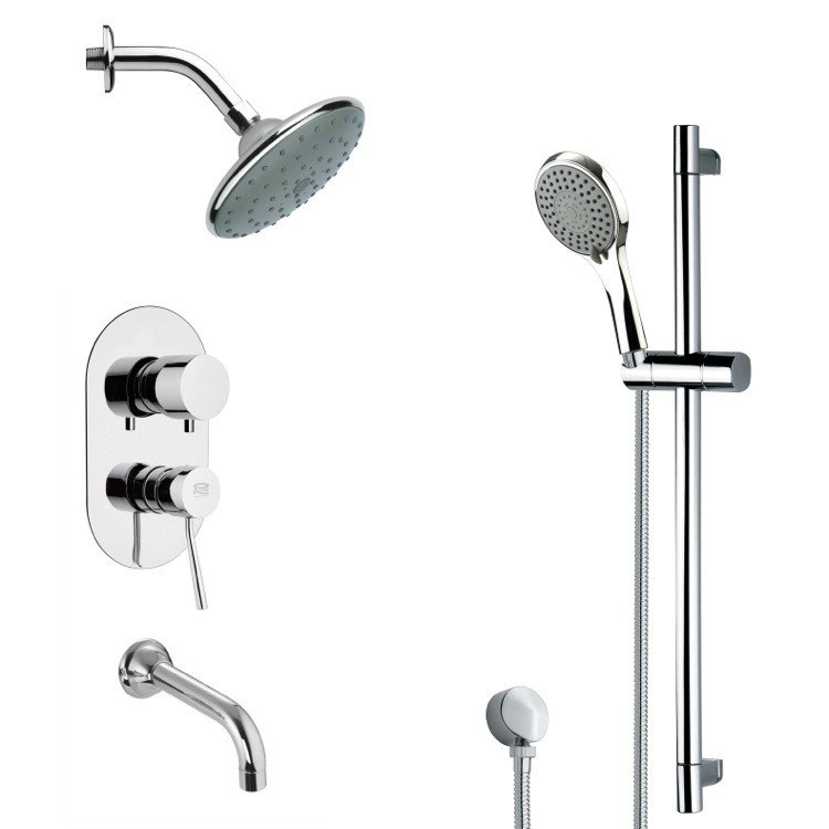 REMER TSR9192 GALIANO CONTEMPORARY ROUND TUB AND RAIN SHOWER FAUCET WITH HAND SHOWER IN CHROME
