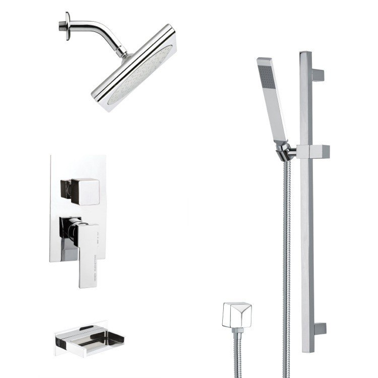 REMER TSR9193 GALIANO SQUARE POLISHED CHROME SHOWER SYSTEM