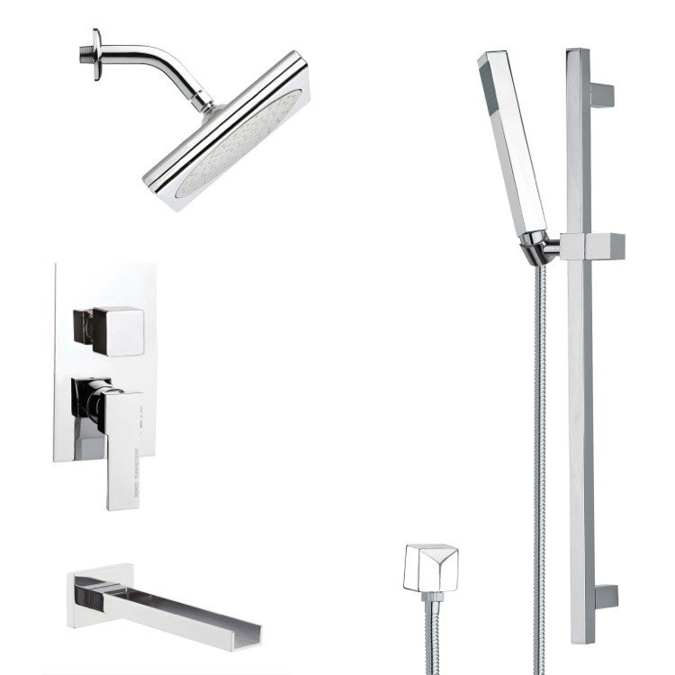 REMER TSR9195 GALIANO SQUARE POLISHED CHROME SHOWER SYSTEM