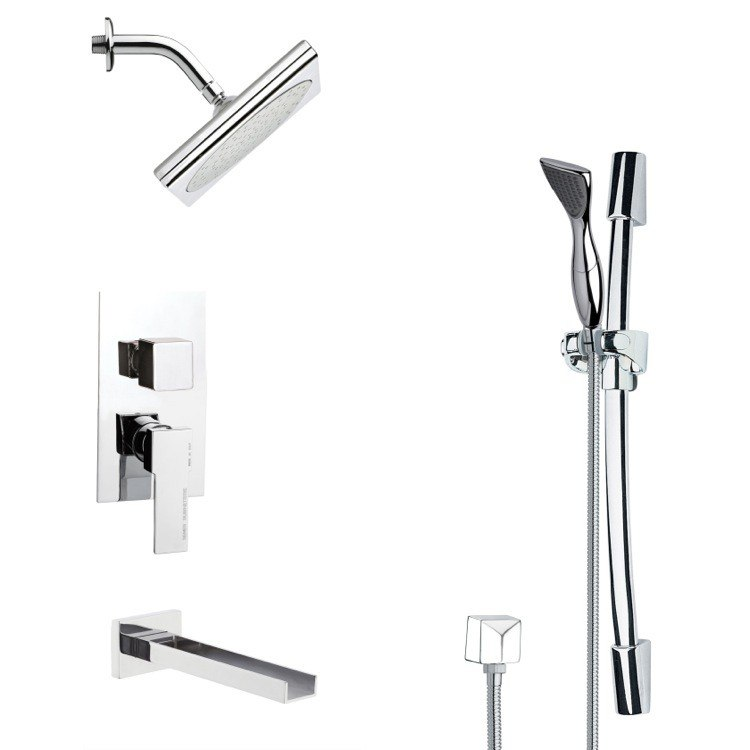 REMER TSR9196 GALIANO SQUARE POLISHED CHROME SHOWER SYSTEM