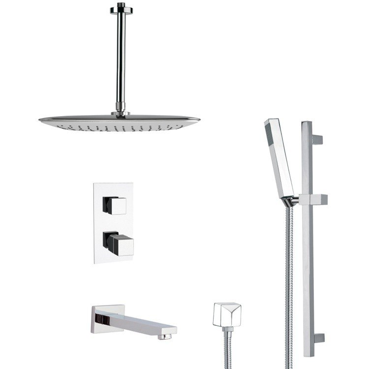 REMER TSR9400 GALIANO MODERN THERMOSTATIC TUB AND SHOWER FAUCET WITH SLIDE RAIL IN CHROME